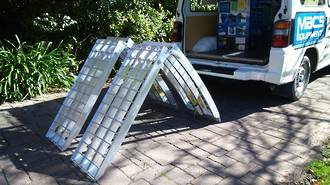 "716HFR USA Aluminium Ramps (Pair) Arched Folding. Total Capacity 1360Kg. Each Ramp: 2.2M (7Ft) Long x 406mm (16"") Wide"