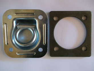 330002 Macs USA Recessed D or Tie Down Lashing Ring  2800Kg + 472005 Steel Backing Plate 6mm Ea